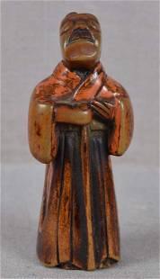 Early 19c Negoro lacquer netsuke blind MASSEUR