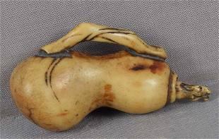 Early 19c staghorn netsuke CHOKWARO HORSE in gourd