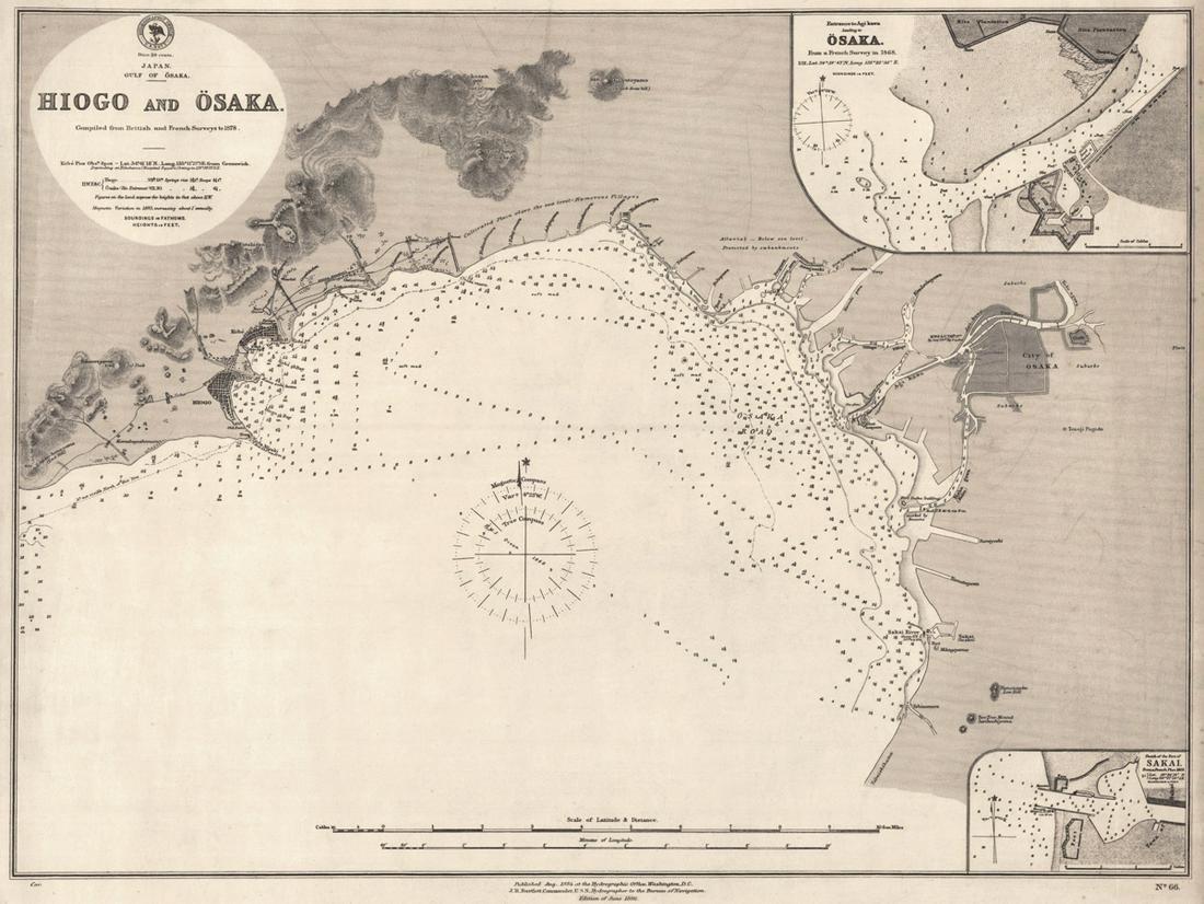 Japan. Gulf of Osaka. Hiogo and Osaka.
