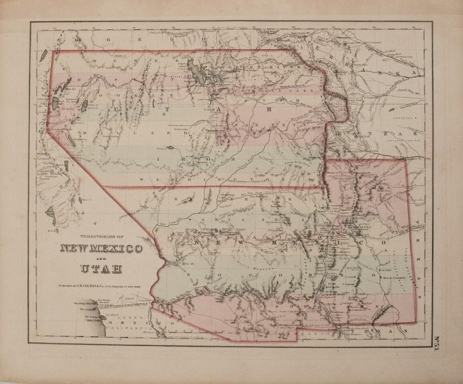 1855 Colton Map of New Mexico and Utah -- Territories