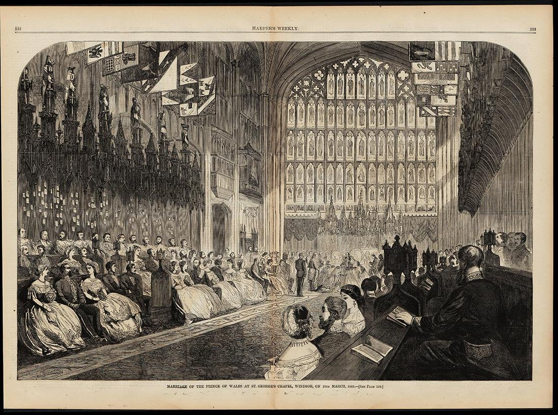Orig. 1863 2-pg woodcut/Prince of Wales marriage