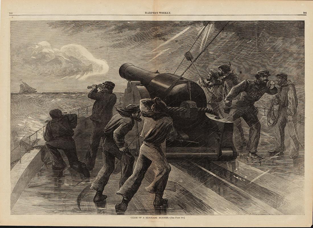 "Orig. ""Blockade Runner"" woodcut, 1863"
