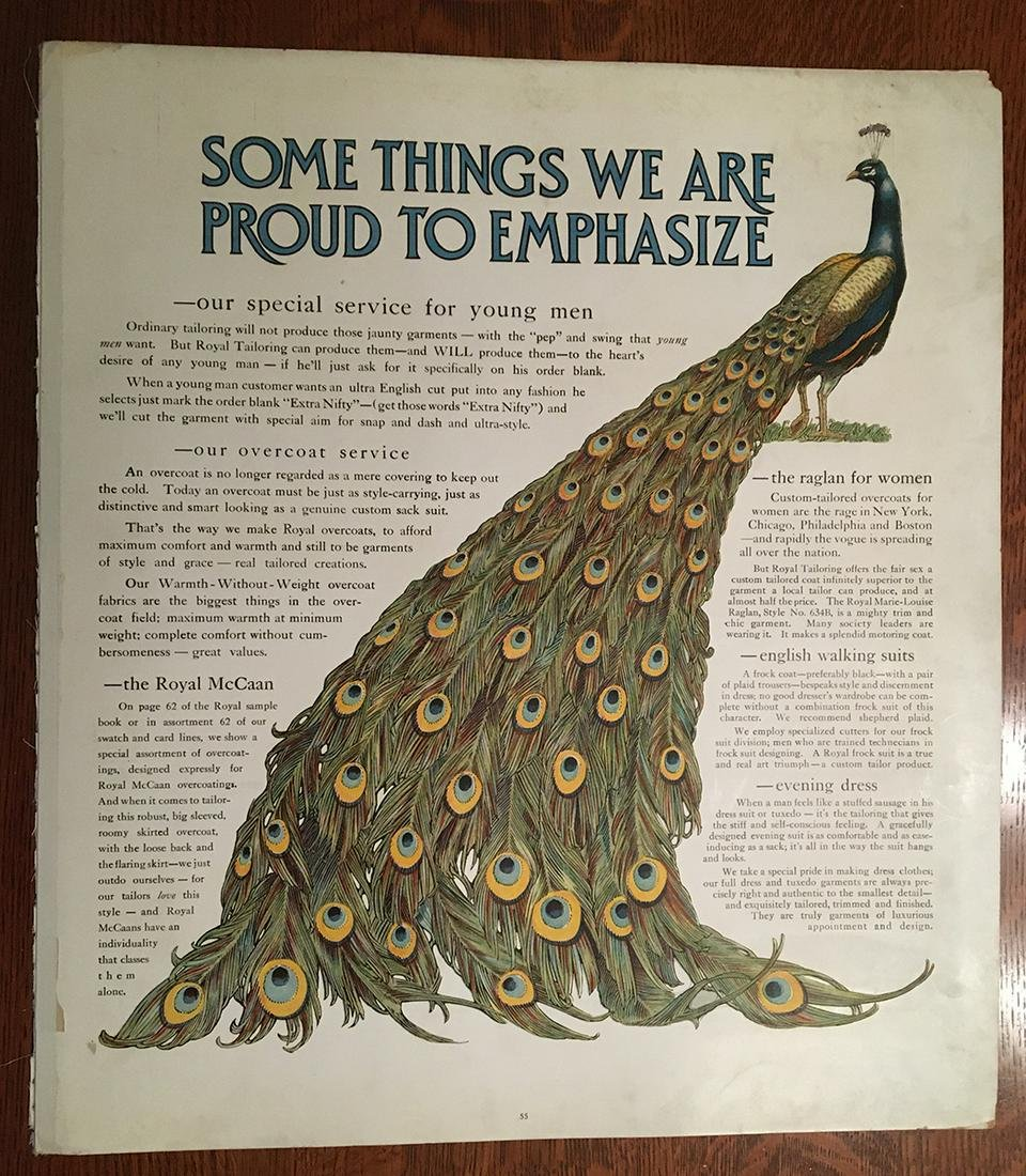 Orig. 1914 Royal Tailors Peacock catalog page