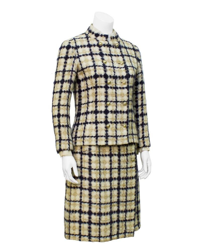 Chanel Couture Navy and Tan Tweed Suit