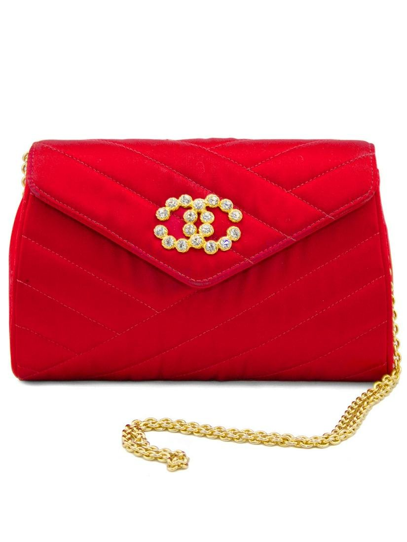 Chanel Red Satin Evening Bag