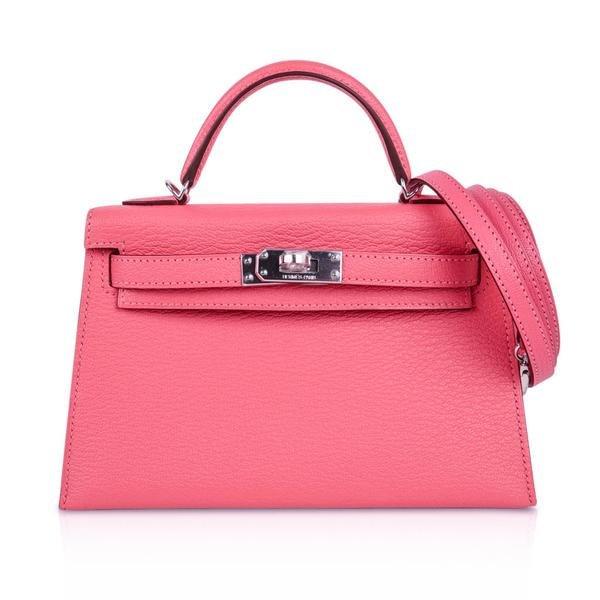 Hermes Kelly 20 Bag Sellier Rose Lipstick Chevre
