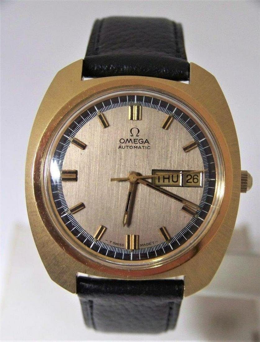 Vintage 18k GP OMEGA Automatic Day Date Watch 1970s Cal