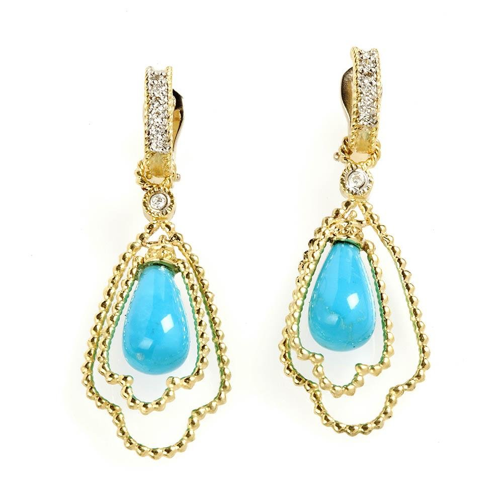 Stambolian Sleeping Beauty Turquoise and Diamond Dangle
