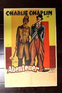"Charlie Chaplin, Abenteuer (France, 1929) 28"" x 18.5"""