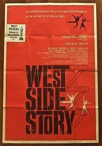 """West Side Story (1961) US 40"""" x 60"""" W/Post Oscar Snipe"""
