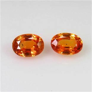 245 Ct Genuine Ceylon Orange Sapphire Oval Pair