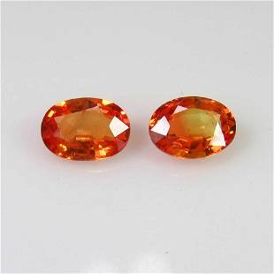 201 Ct Genuine Ceylon Orange Sapphire Oval Pair