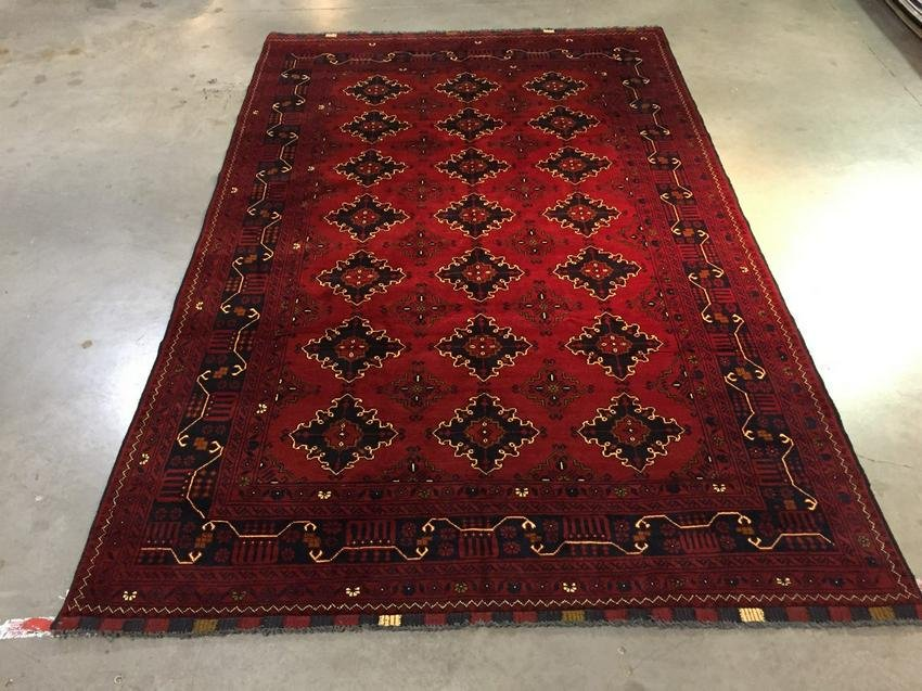 """Authentic Hand Knotted Afghan Rug 6'.3""""x9'.8"""""""