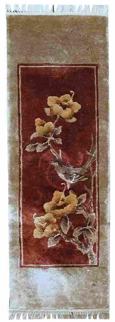 Handmade Vintage Art Deco Chinese Silk Rug 1' X 3'