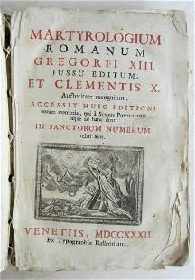 1732 ROMAN MARTIROLOGY antique VELLUM BOUND