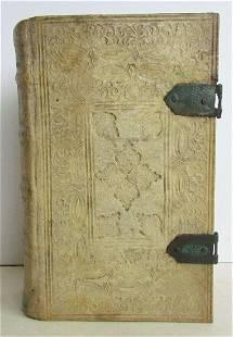 1762 DECORATIVE BLINDSTAMPED PIGSKIN BINDING THEOLOGIA