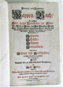 1695 GERMAN HERALDIC COAT OF ARMS ILLUSTRATED EMBLEM
