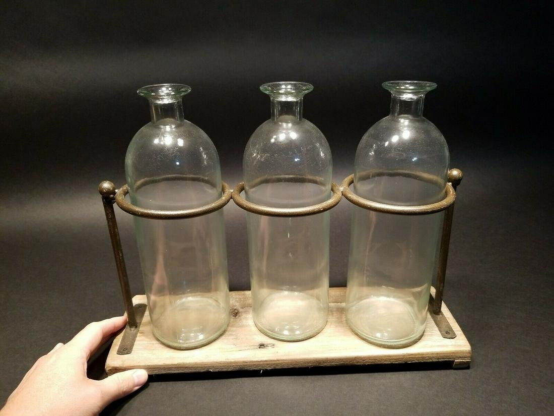 Pharmacy Apothecary stand w 3 Bottles