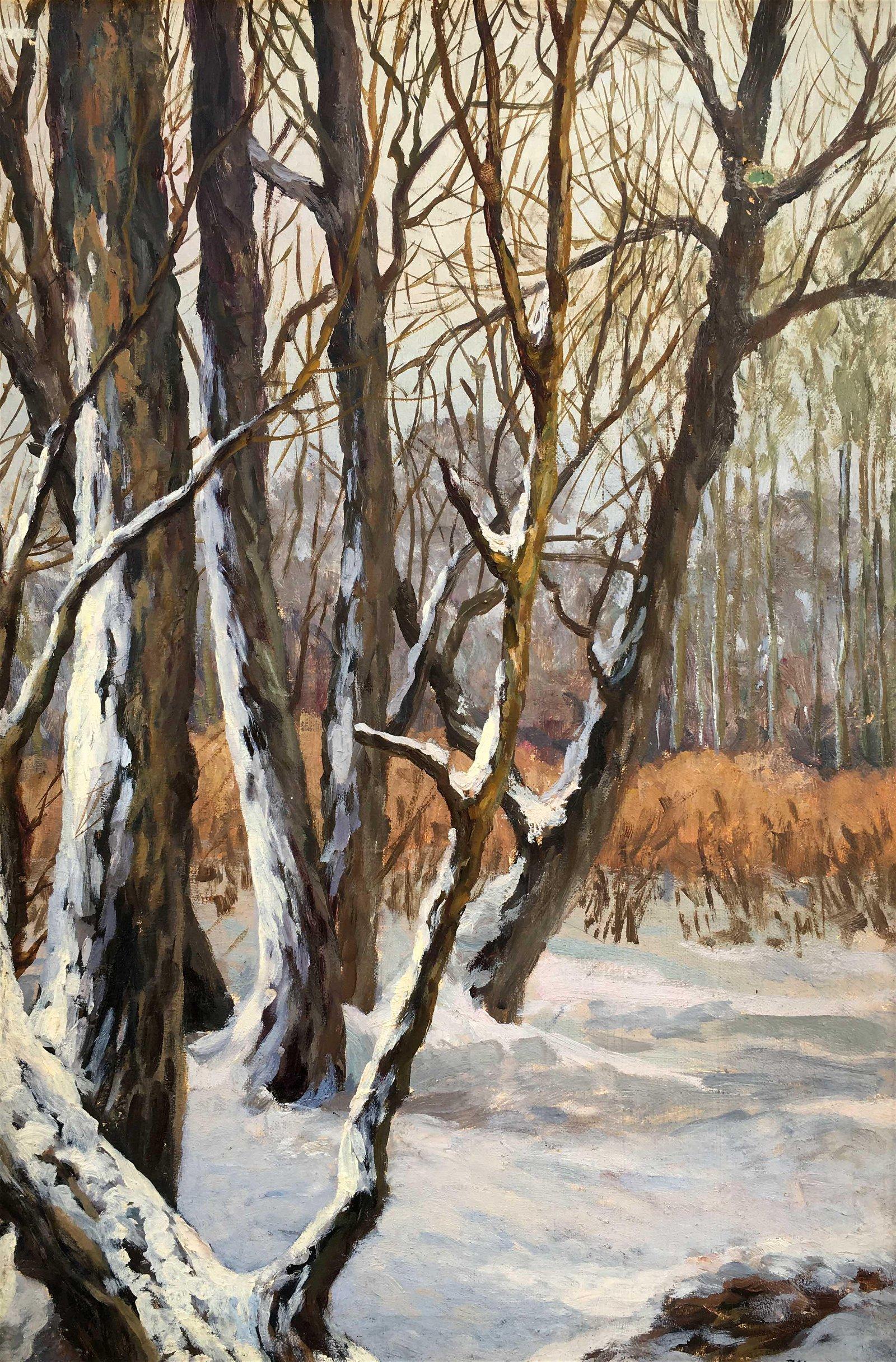 Oil painting winter foreest Alexander Cherkas