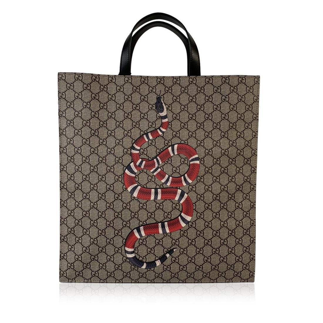 Gucci GG Supreme Monogram Canvas Kingsnake Print Tote
