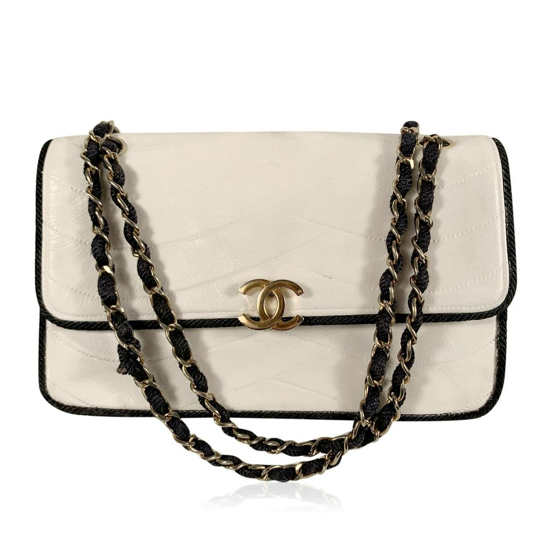 Chanel Vintage White Quilted Leather Shoulder Bag with