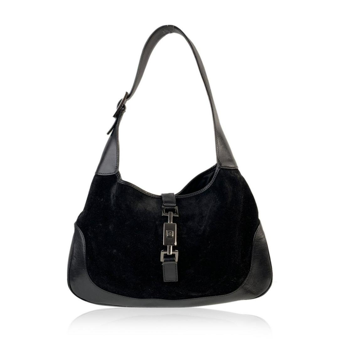 Gucci Black Suede and Leather Hobo Jackie O Shoulder