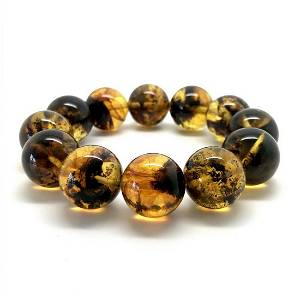Baltic amber cut beads bracelet with inclusions
