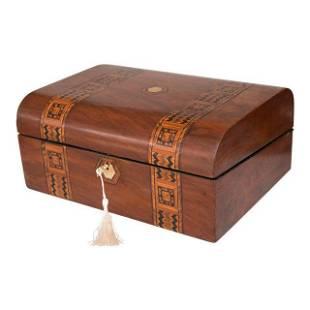 19th-Century English Walnut Domed Tunbridge Box, Lock &