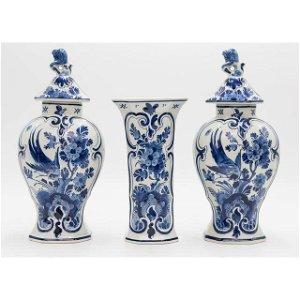 Antique Dutch Delft Faience Birds Floral Vases - Set of