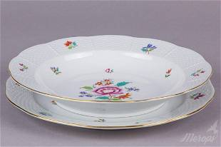Herend Nanking Bouquet Multicolor Dinner Plate and Soup