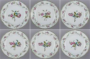 Set of Six Herend Antique Floral Pattern Dinner Plates