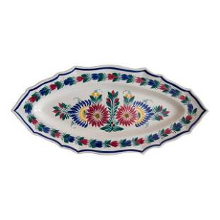 C 1940 Large French Faience Quimper Floral Fish
