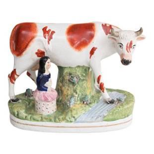 Large 19thCentury English Staffordshire Cow Girl