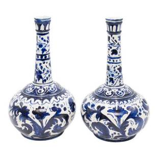 Large European Blue White Long Neck Bottle Vases a