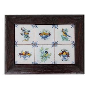 Antique Dutch Delft Framed Birds Fruit Tiles Set of