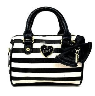Betsey Johnson Mini Satchel Barrel Bag Black and White