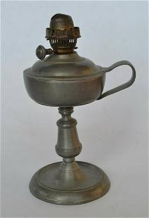 Early Pewter Lamp with Kerosene Burner Early Pewter