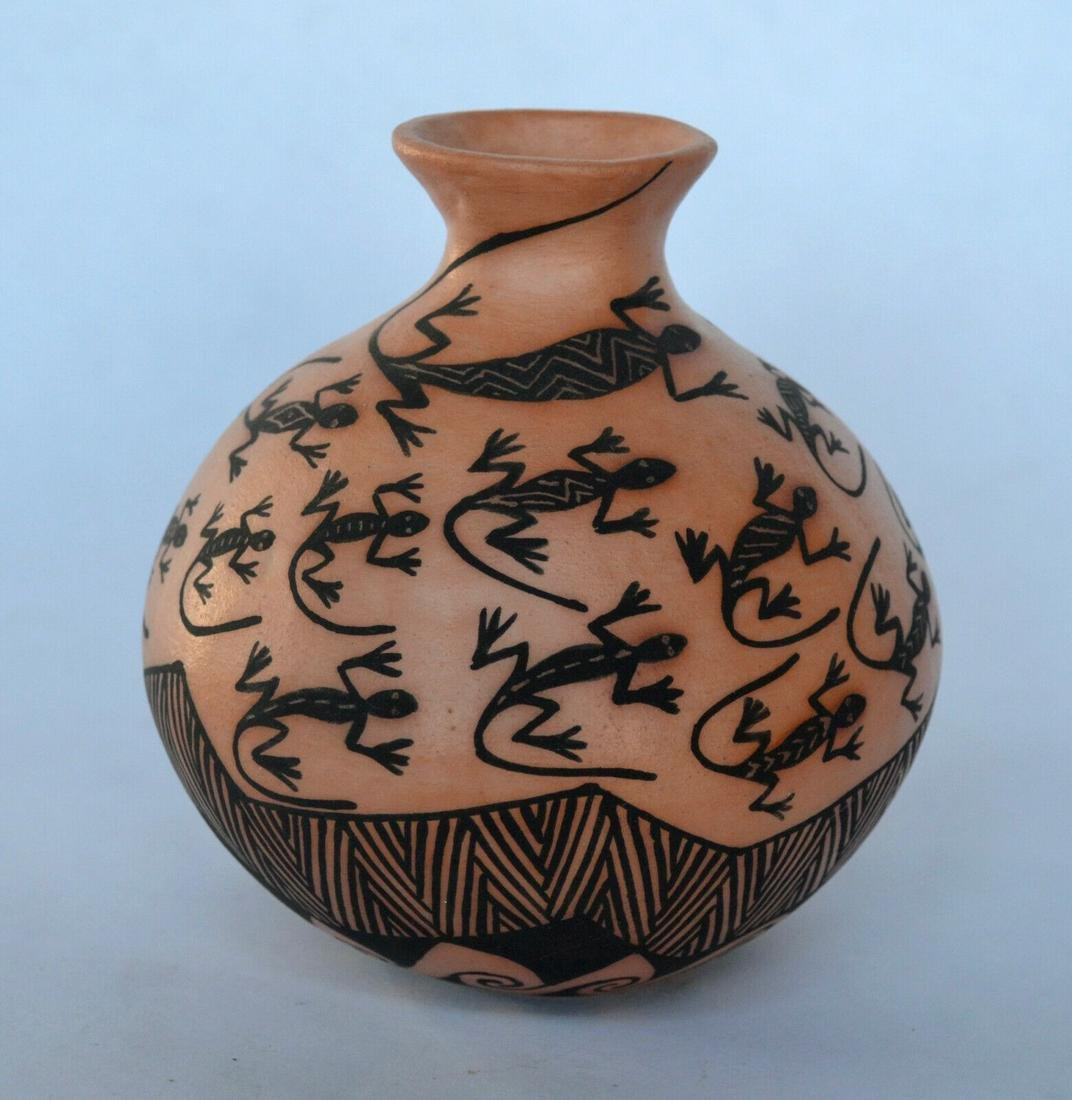 Native American Acoma Pot with Lizards; Native American
