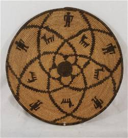 Fine, Large Apache Figural Basket With Humans And