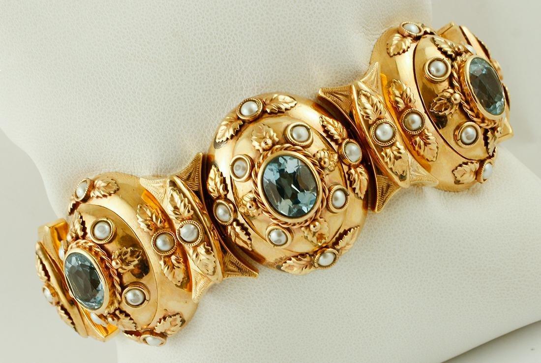 Light Blue Topaz, Pearl, Rose Gold 1950s Bracelet