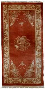 Handmade vintage Art Deco Chinese rug 29 x 63 90cm