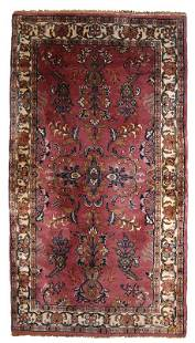 Handmade vintage Persian Lilihan rug 29 x 56 90cm