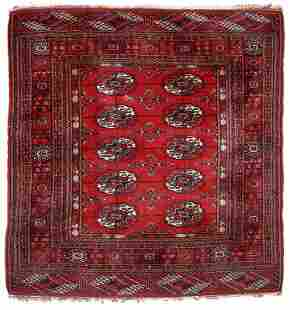 Handmade vintage Turkmen Tekke rug 35 x 36 109cm x