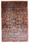 Handmade antique Persian Kerman rug 4.2' x 6.10' (128cm
