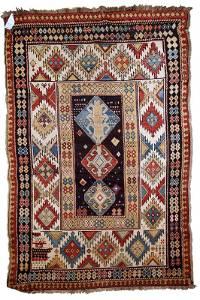Handmade antique Caucasian Kazak rug 3.7