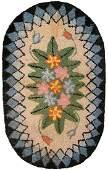 Handmade antique American Hooked rug 1.7' x 2.7' (51cm