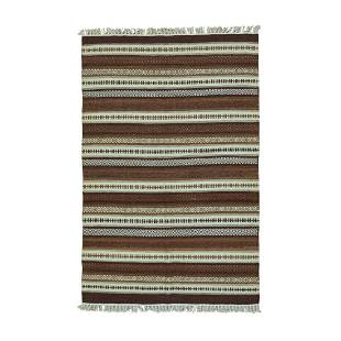 Striped Shades Of Brown Kilim Pure Wool Hand Woven Rug