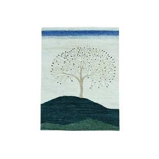 Modern Folk Art Gabbeh Persian Wool Hand Knotted