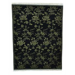 Modern Tibetan Pure Wool Botanical Design Handmade