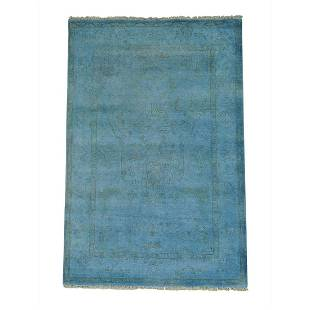 Hand Knotted Sky Blue Overdyed Oushak Pure Wool